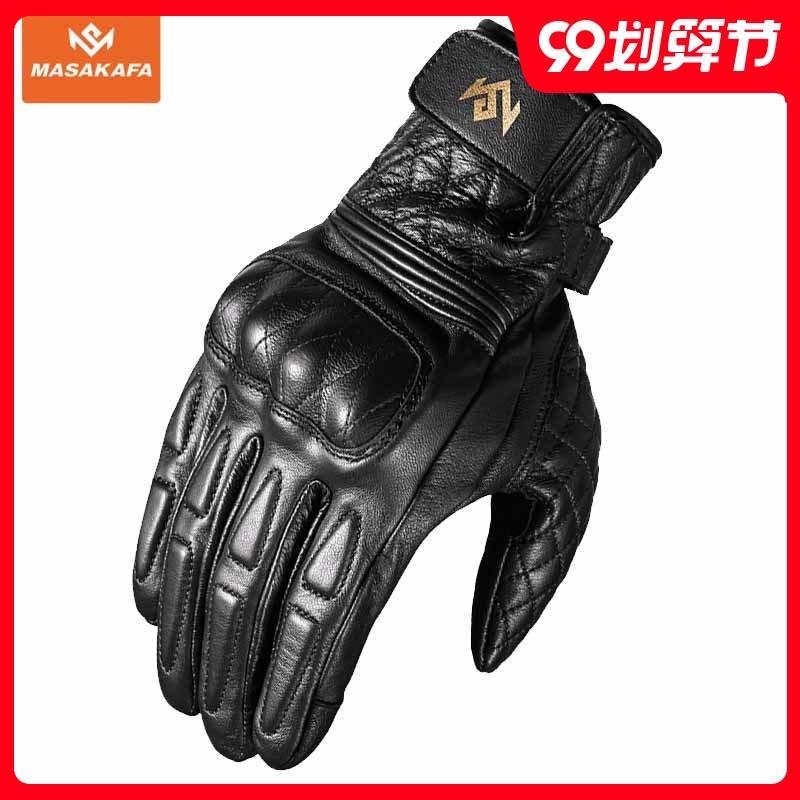 马沙卡法摩托车骑行复古真皮手套