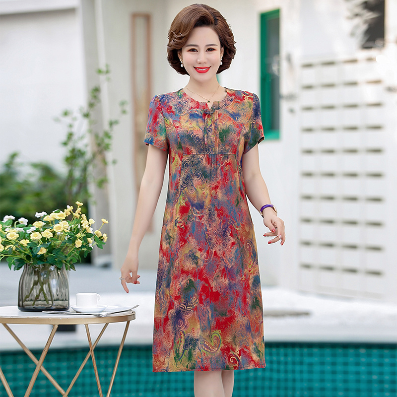 Mothers summer cotton silk dress middle-aged and old womens Dress Plus fat plus size fat grannys medium length skirt