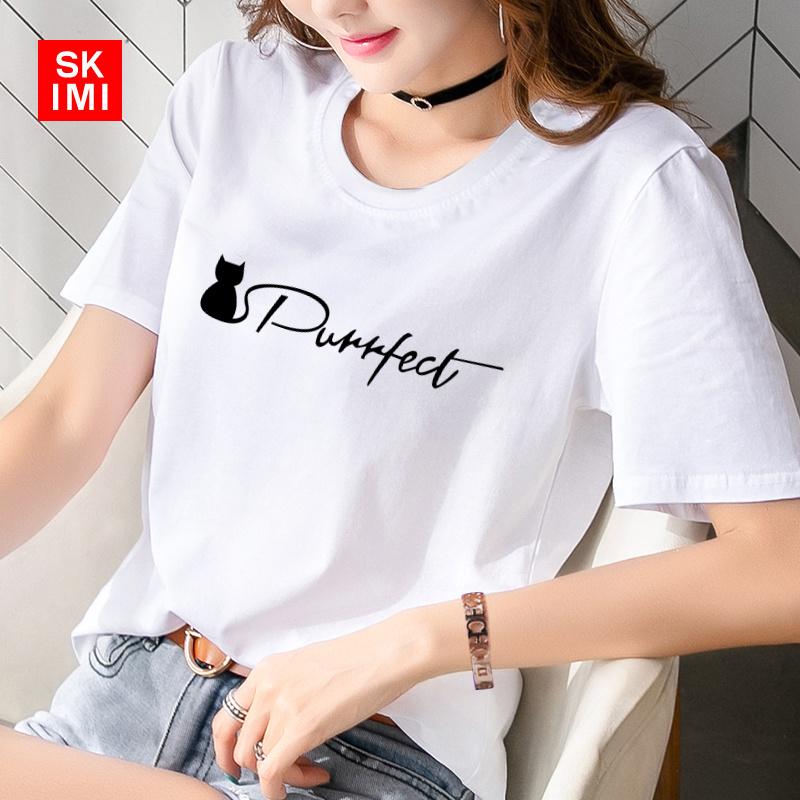 Short sleeve 95 cotton new T-shirt womens loose large womens white womens T-shirt half sleeve summer
