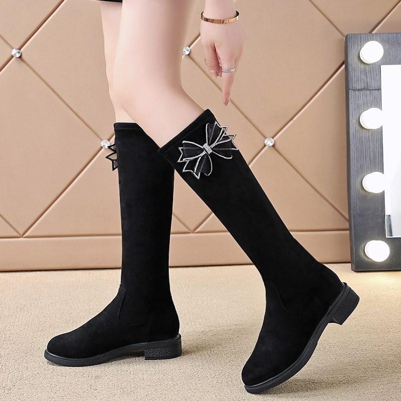 女童靴子儿童鞋子2021冬季新款高筒靴潮靴长靴加绒女孩子中筒马靴