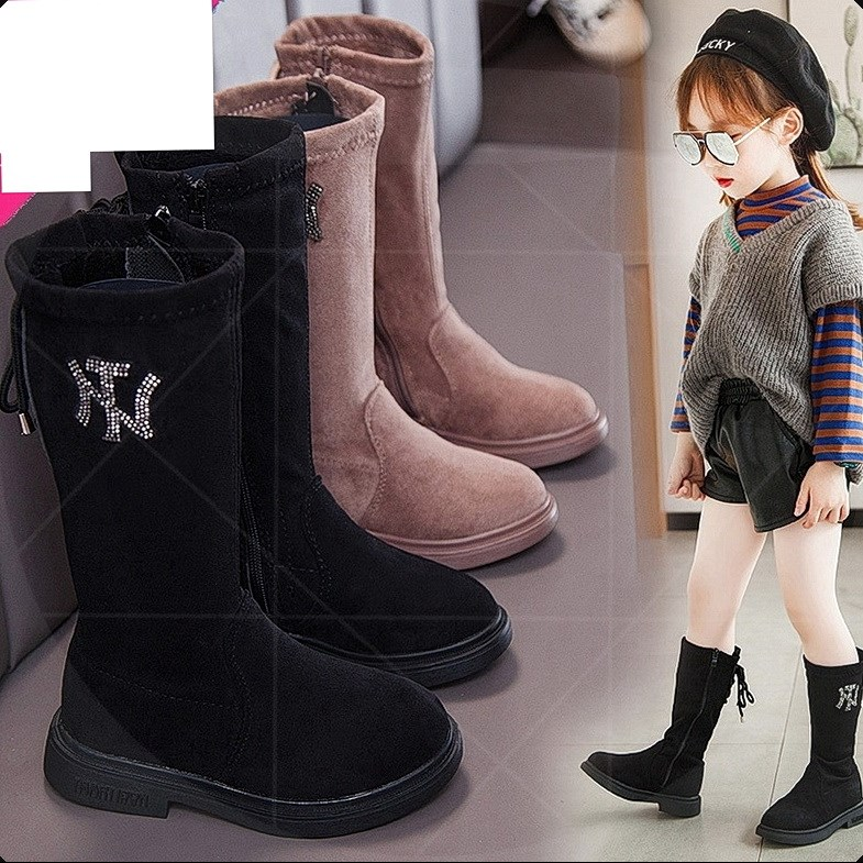 の女童靴子秋冬季长筒靴加绒时尚高筒靴长靴保暖儿童马丁靴二棉鞋