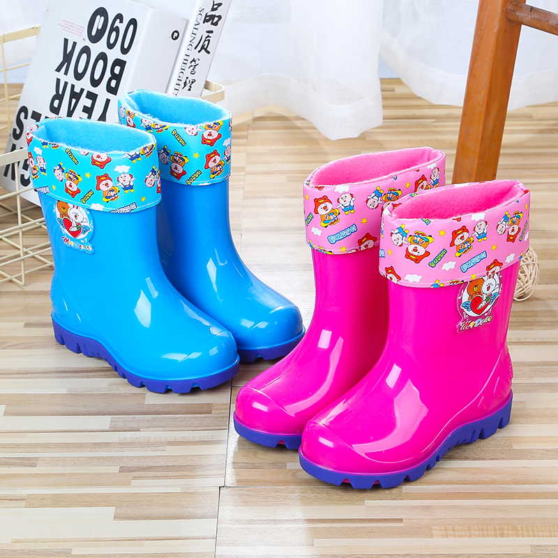 Tigno childrens rain shoes mens and womens water shoes plush and cotton cartoon rubber boots water boots rain boots anti-skid rubber shoes Plush cover