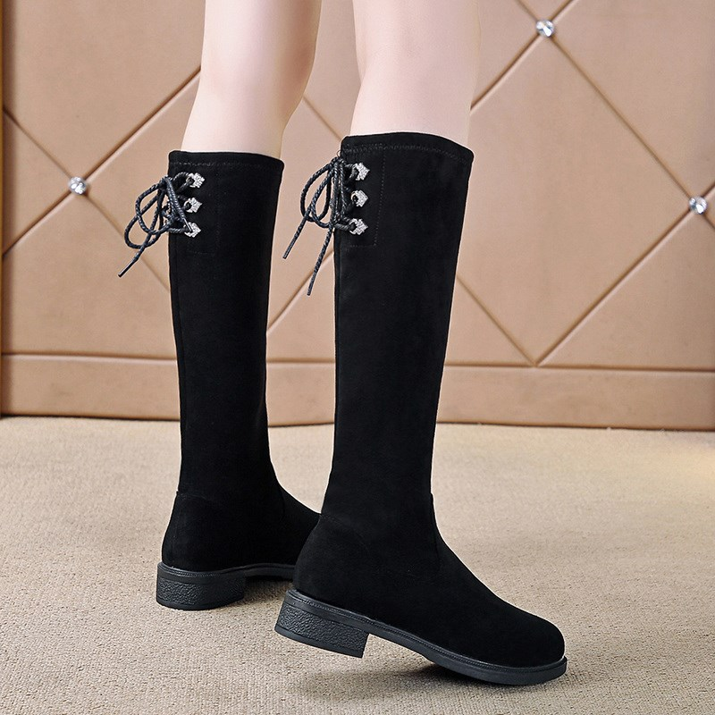 Girls shoes childrens boots 2021 winter boots Plush flat bottomed high boots elastic boots girls middle riding boots