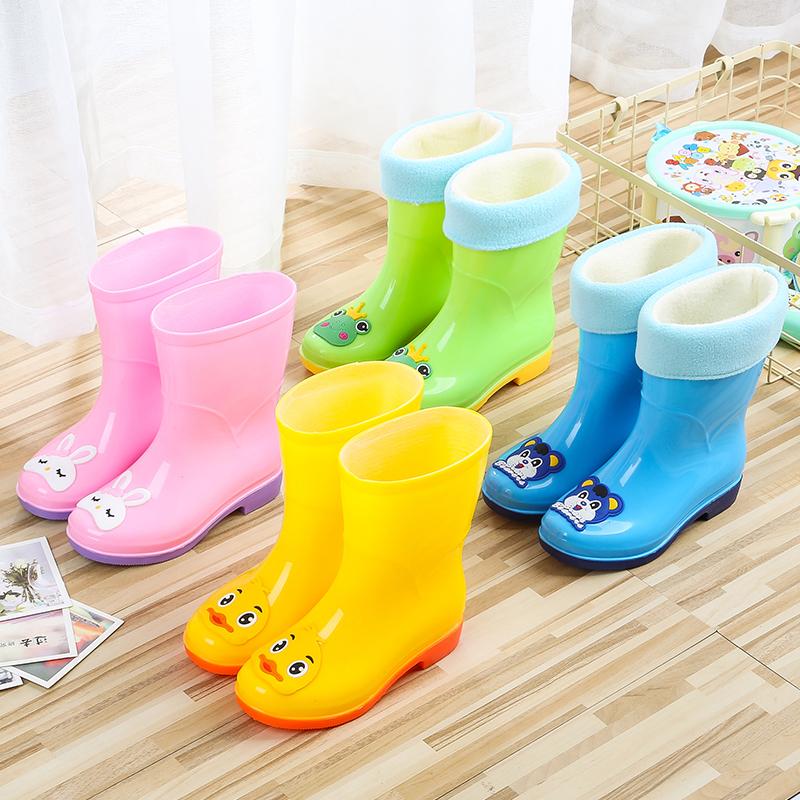 Tigno 2020 new Korean cute cartoon four seasons rain boots boys and girls warm and non slip childrens water shoes