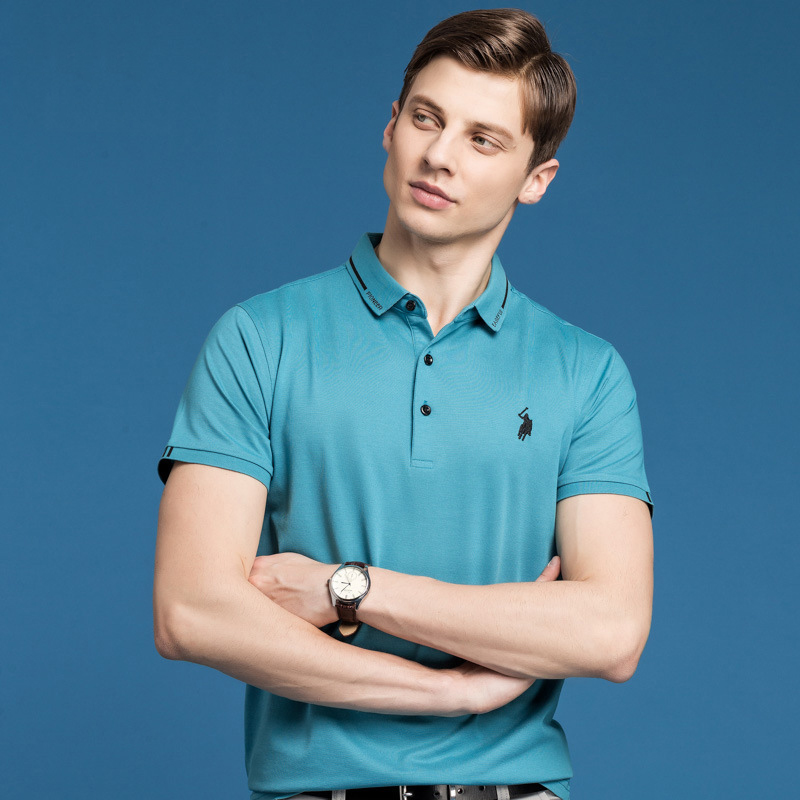 Summer polo shirt mens solid color new slim fitting short sleeve polo shirt mens middle age easy wear casual Dad