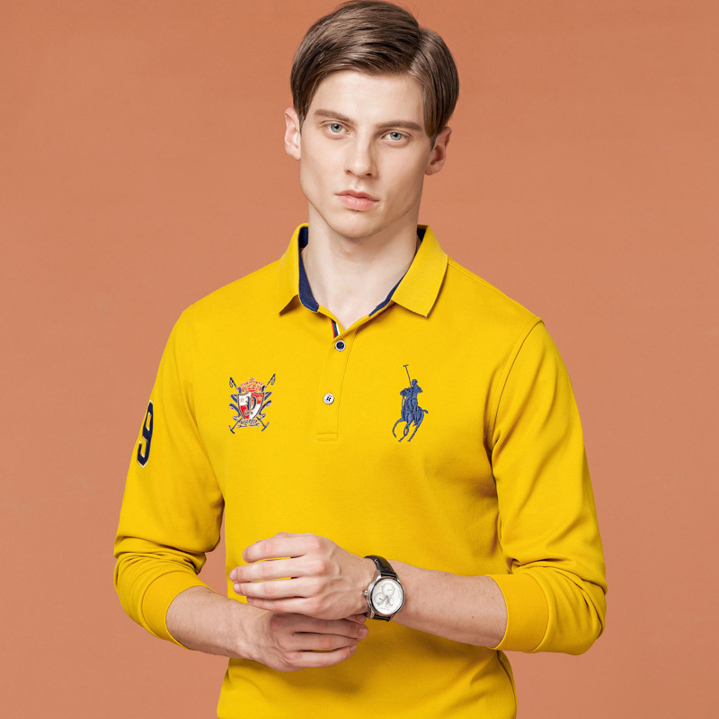 Autumn and winter youth mens long sleeve T-shirt with collar horse logo embroidery polo shirt mens Polo Association T-shirt