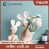 兔女郎捧花摆件客厅装饰品电视柜桌面摆设干花插花瓶轻奢礼物创意