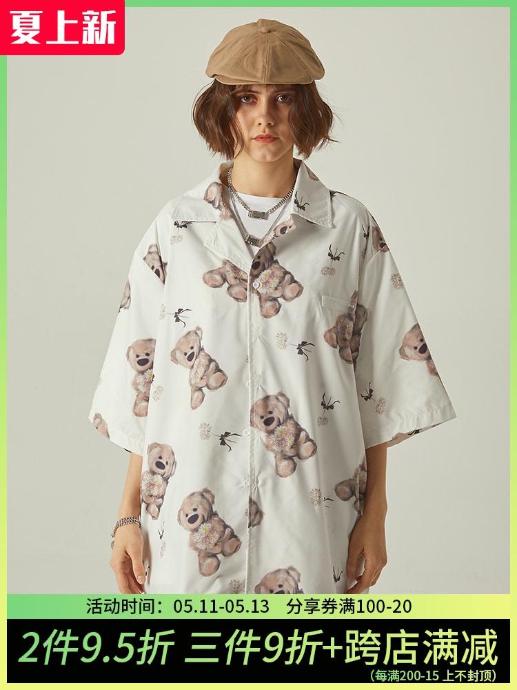 NEXTDAWN 新款夏装宽松小熊图案上衣休闲半袖设计感男女潮流衬衫