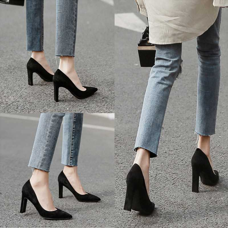 High heeled womens flat heeled new versatile Black Suede professional womens shoes in spring and autumn 2021