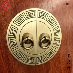 拉手柜门新中式仿古衣柜纯铜拉手古铜圆形柜子把手橱柜家具铜配件