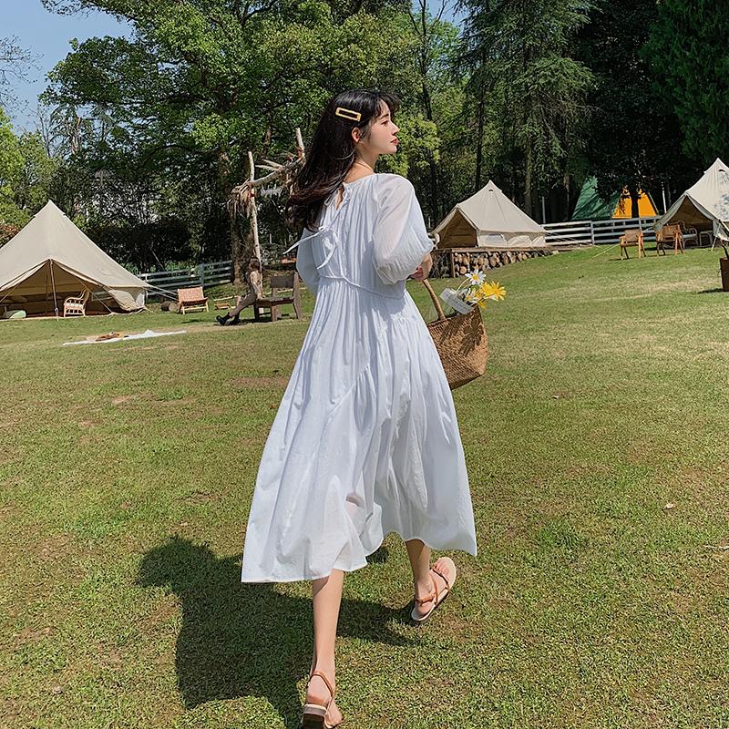 Light cotton skirt summer round neck 3 / 4 sleeve loose long dress breathable and sunscreen 2-piece long skirt for women