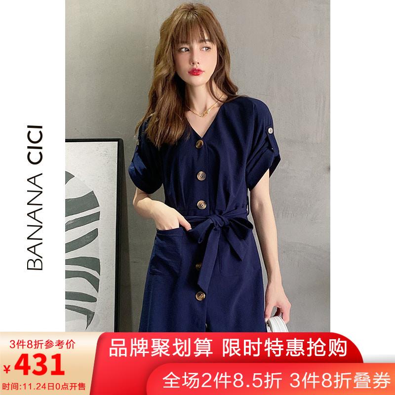【商场同款】BANANA CICI2020夏新款V领单排扣系带高腰短袖连衣裙