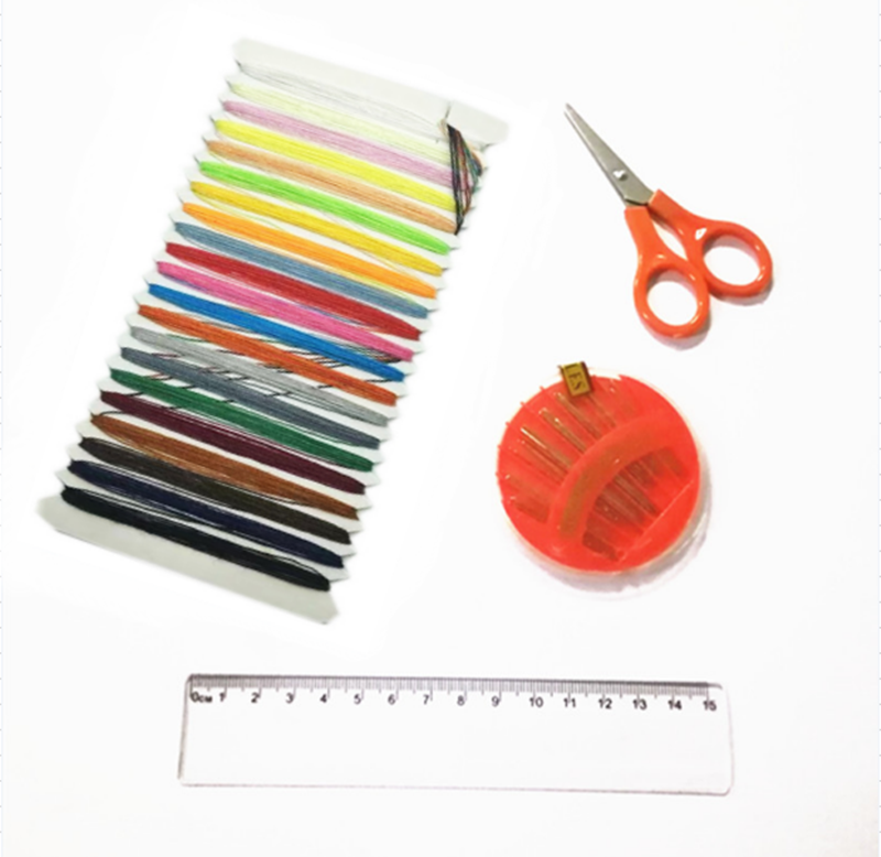 Children DIY hand embroidery sewing scissors ruler sewing accessories material kit hand sewing bag