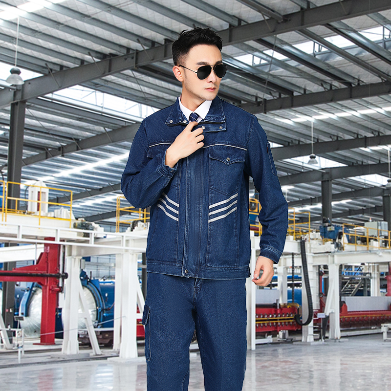 Spring and autumn and winter cotton thickened denim workwear suit mens reflective strip wear-resistant and anti scald electric welding electricians labor protection suit