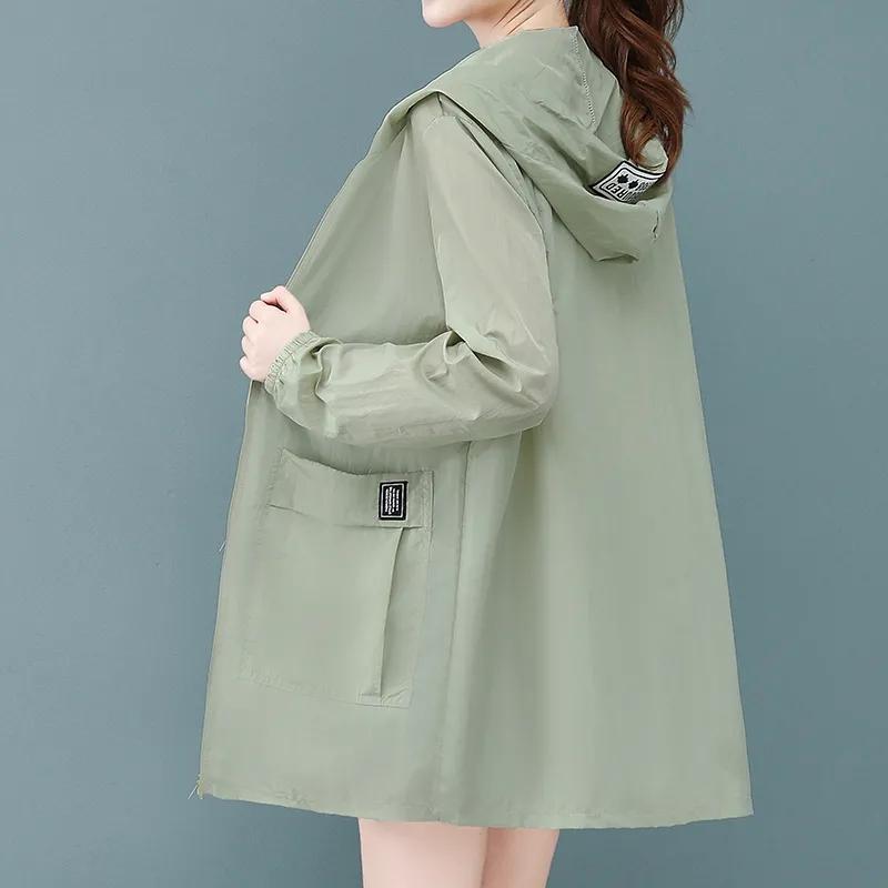 宽松大码防晒衣女中长款2021夏季新款韩版防晒服防紫外线薄款外套