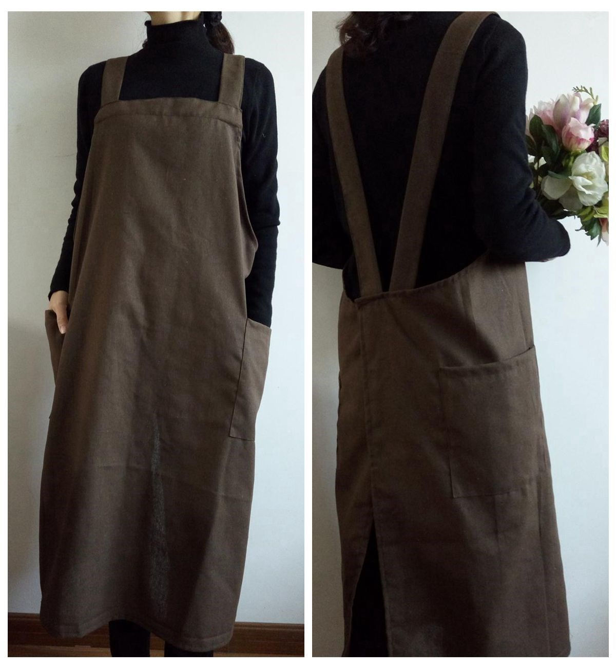 Apron 2021 new long smock womens spring and autumn long work clothes are wearing clothes for cooking in the kitchen