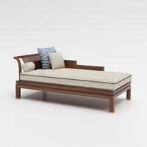 新中式貴妃沙發躺椅烏金木貴妃榻實木單人胡桃木美人榻定制貴妃椅