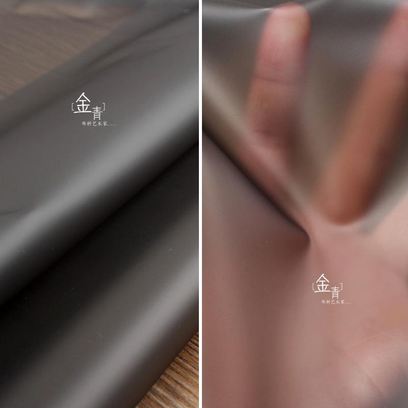 进口设计师半透明黑色雾面tpu面料 透视时装背景台 防水雨衣布料