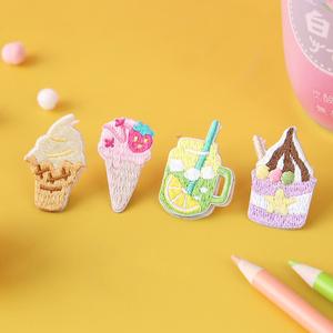 小小冷饮铺刺绣贴冰淇淋可爱少女心雪糕布贴卡通百搭衣服pad壳贴