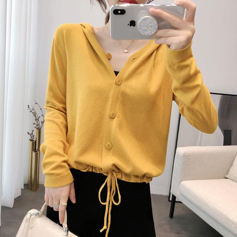 Womens T-shirt short autumn Hooded Sweater loose chic versatile drawstring sweater solid top