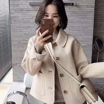 毛呢大衣女2021春秋新款韩国复古宽松休闲夹克矮个子短款呢子外套