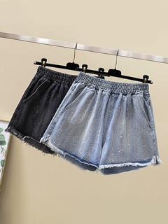 加肥加大码女装新款毛边牛仔短裤热裤 200斤胖妹妹休闲显瘦阔腿裤