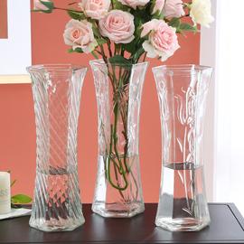 特大号简约玻璃花瓶透明水养北欧花瓶创意富贵竹插花家用客厅摆件