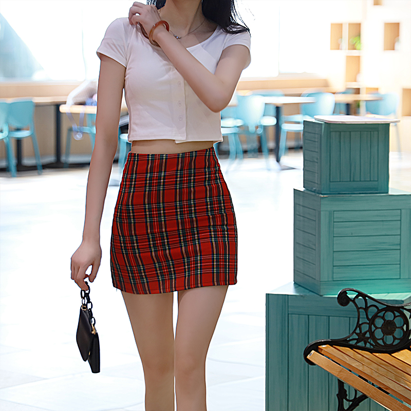 Red plaid skirt skirt women summer 2020 new hip skirt short skirt ins skirt simple white t suit