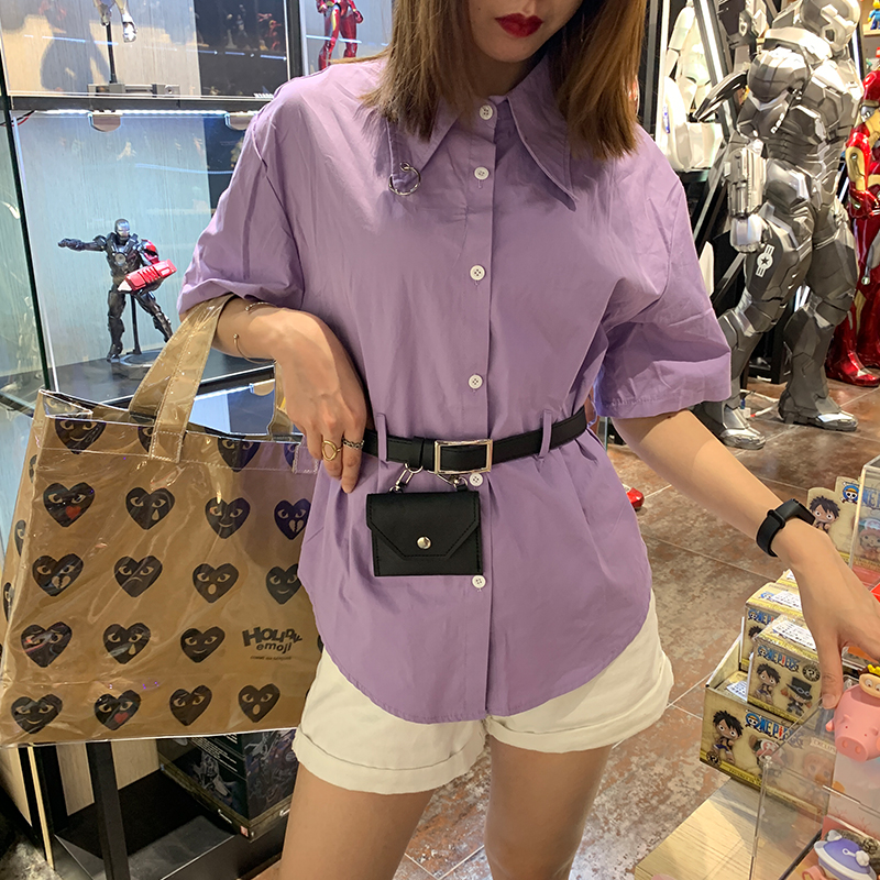 Waistband bag shirt womens design sense small medium long summer Korean Short Sleeve Top loose waist closing trend