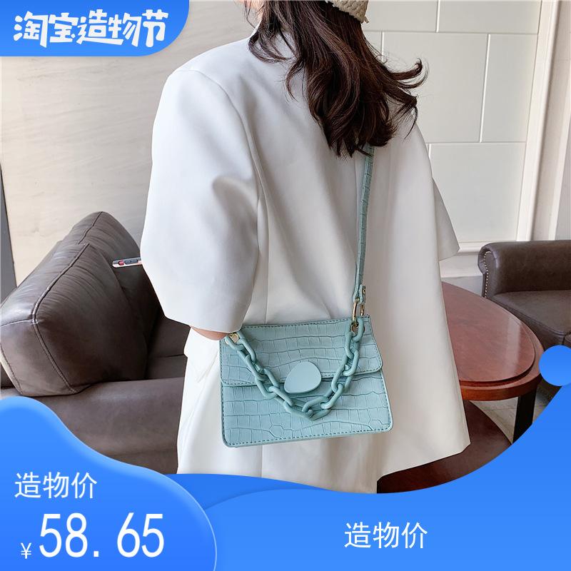 2020新款石头纹锁链式提把小方包复古ins洋气质感单肩斜跨女包包