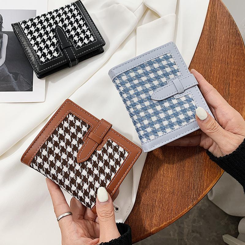 小钱包女短款2020新款韩版时尚质感洋气折叠抽带零横款格子钱包女