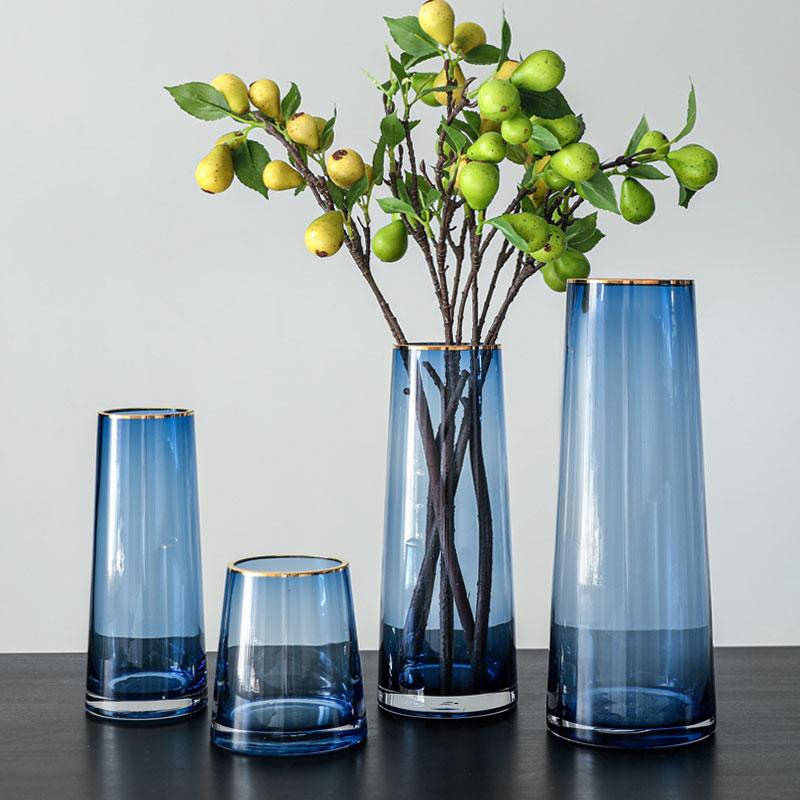 蓝色摆件客厅插花轻奢百合玻璃花瓶质量怎么样