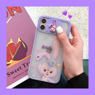 适用苹果11手机壳紫色兔子iphone12promax全包12mini防摔11pro镜头推拉门xsmax创意7/8plus套X个性XR女SE2代