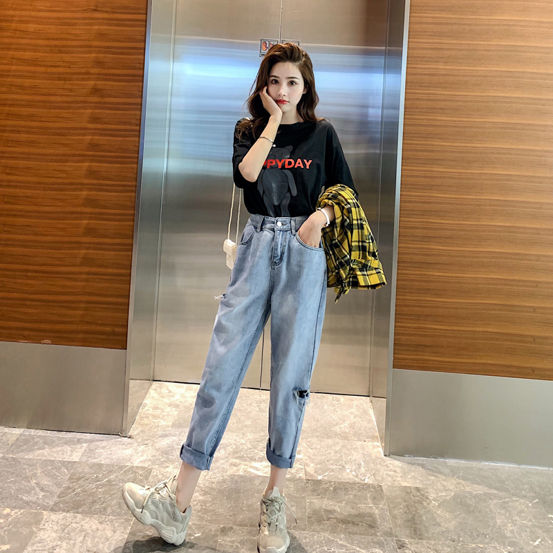 Net red top, jeans, womens autumn high waist 2020 new style perforated Korean wide leg casual pants, versatile straight pants