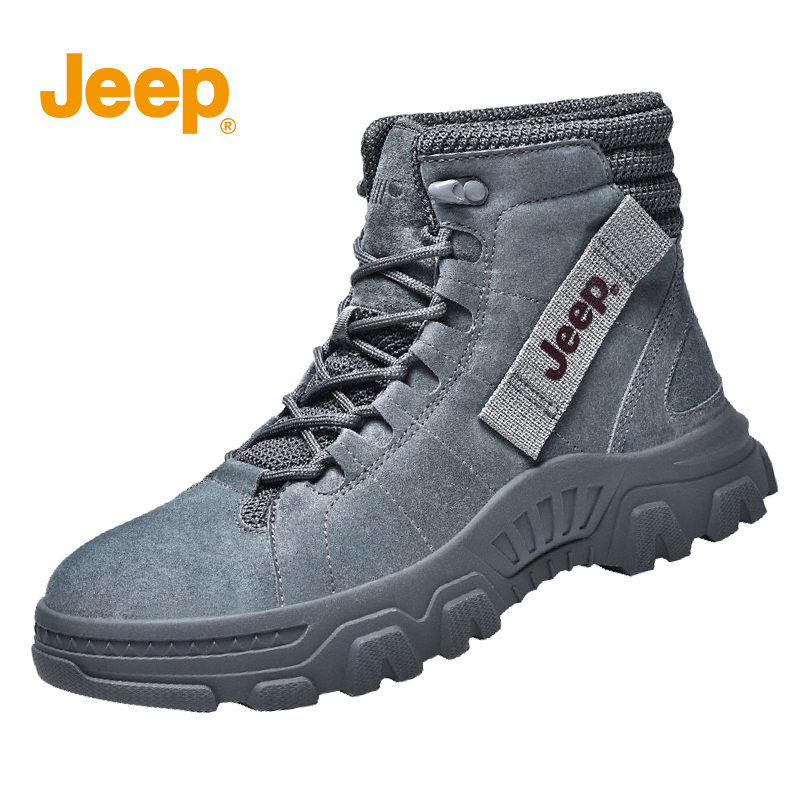 Jeep Martin boots mens autumn and winter leather high top British Korean fashion casual high top desert tooling shoes