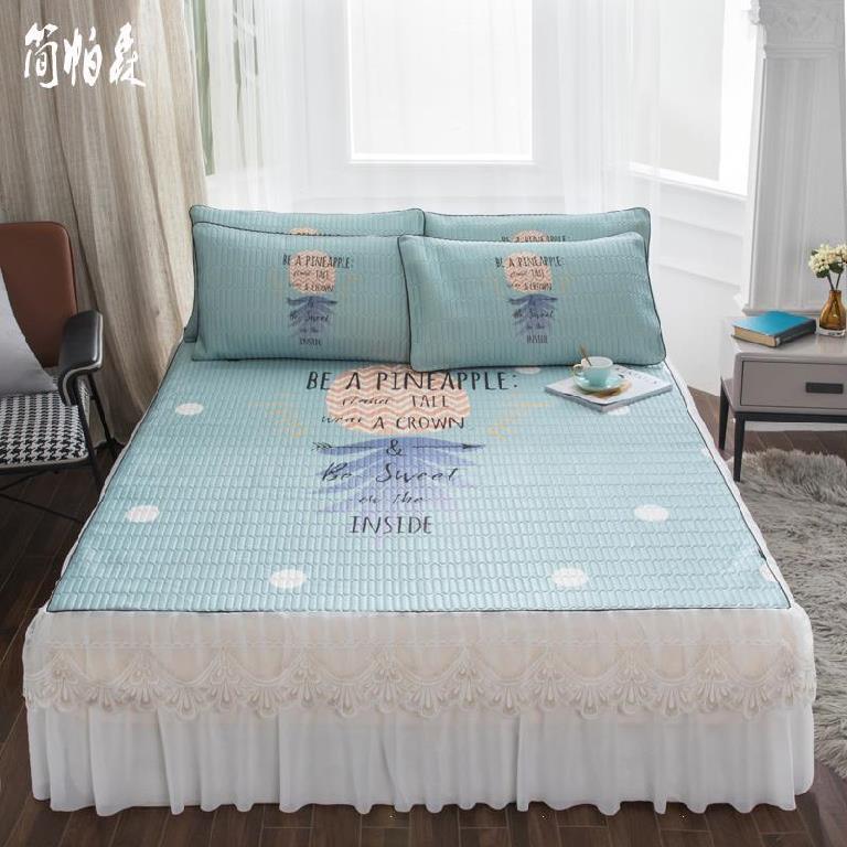 冰丝软席三件套可水洗夏季隔床席寝具双人床加厚款夏天斜纹套装蓝