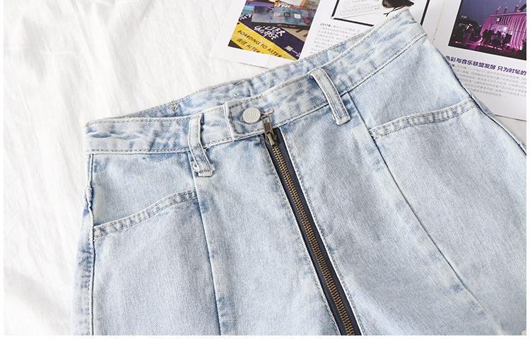 拉链牛仔裤女一拉到底夏季水洗做旧牛仔裤短裤前拉链A字裤毛边。