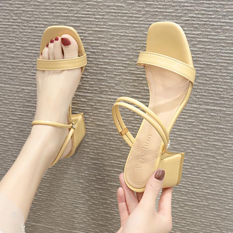 One shoe two wear women sandals 2020 new high-heeled minimalist sandals one word Roman sandal womens heel with skirt
