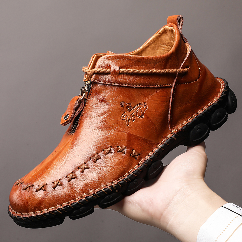 ? Leather Boots Mens breathable lazy zipper leather large mens shoes 48 hand retro driving high top Martin boots