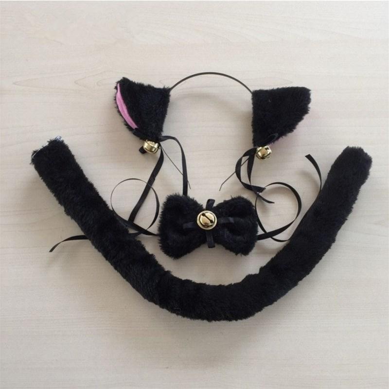 动漫cospla仆猫耳朵y箍毛绒领结手套尾巴M猫耳女发猫娘洛丽塔饰品