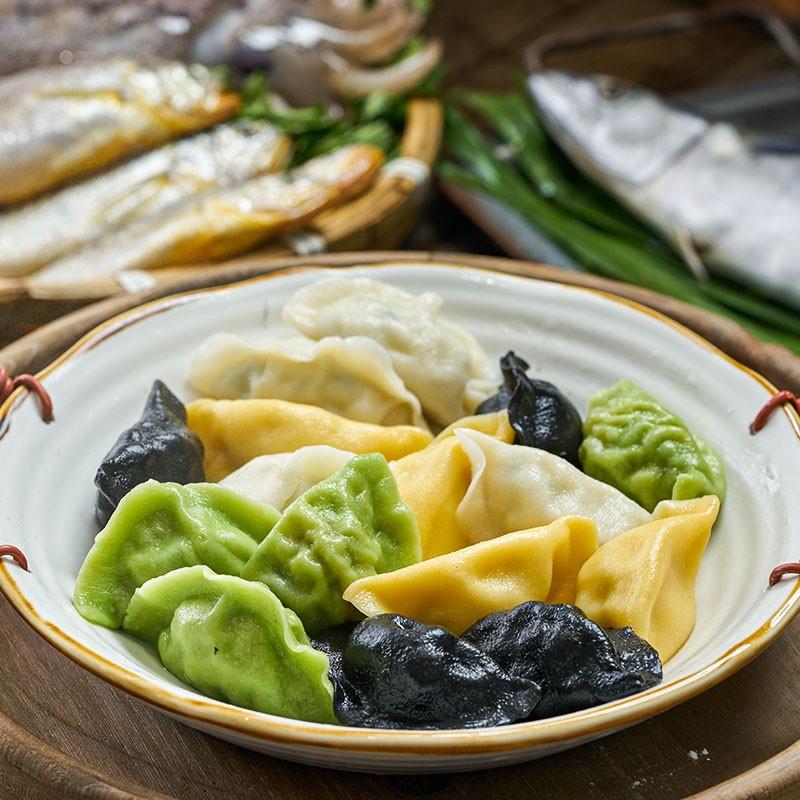 船歌鱼水饺墨鱼黄花鱼鲅鱼虾手工海鲜速冻饺子230g*4袋礼盒装