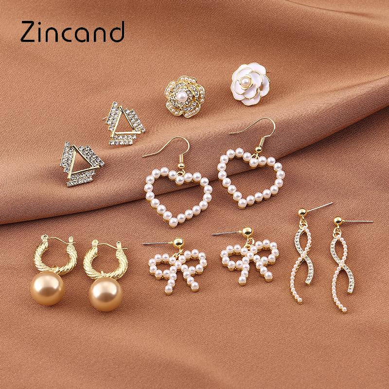ZD原创设计S925银针金属风珍珠耳环女法式复古风防过敏耳钉H