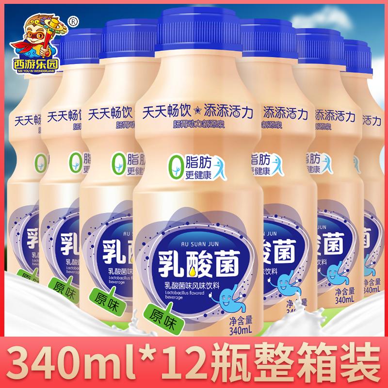 原味乳酸菌饮品340mlx12瓶饮料儿童营养味养早餐装特价益生元酸奶