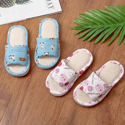 儿童亚麻拖鞋夏男童女童春秋室内家用防滑软底小孩居家棉麻布拖鞋