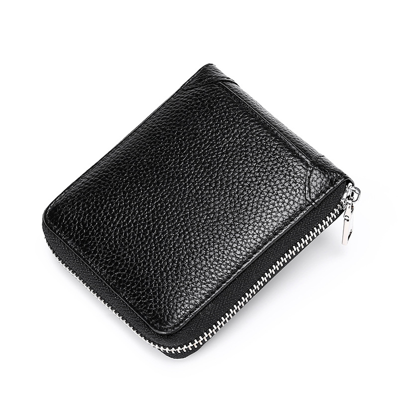 Mens wallet short leather zipper multifunctional drivers license card bag leather 2019 new mens wallet wallet