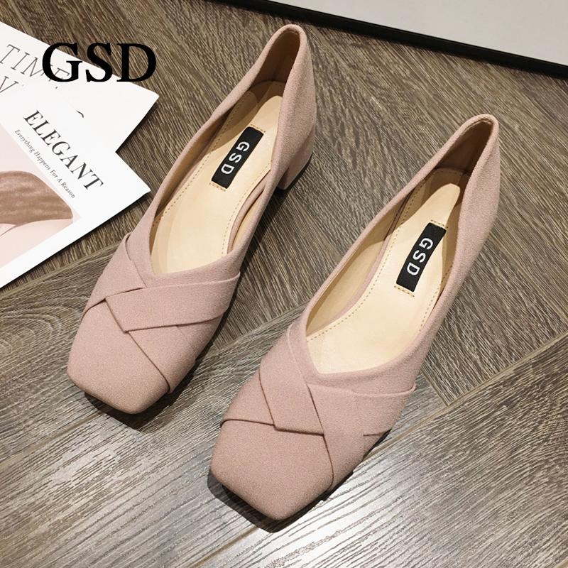 GSD鞋子女学生韩版时尚2020精品单鞋百搭方头浅口潮鞋大码休闲鞋