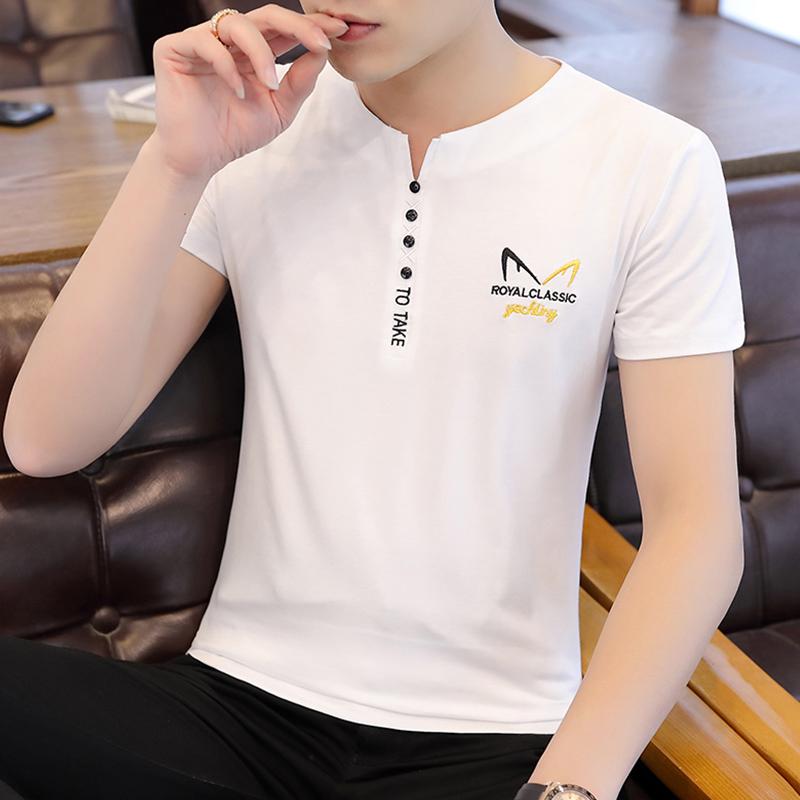 2020夏季潮流短袖t恤男款纯棉圆领半袖上衣青年V形休闲修身体恤衫