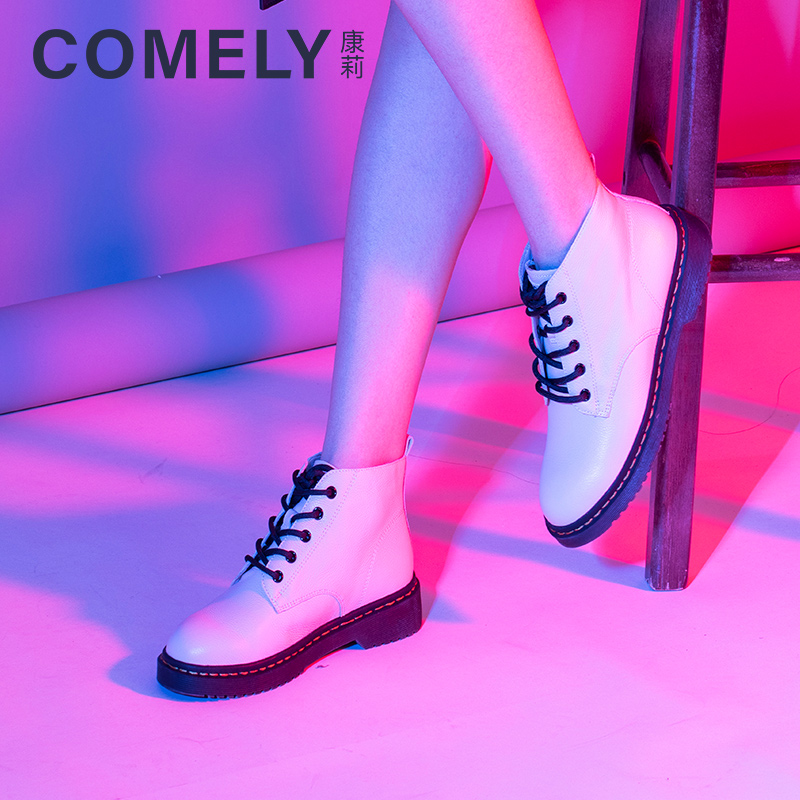 Comely / Conley 2020 autumn and winter new lace up casual Martin boots womens British style plush leather boots