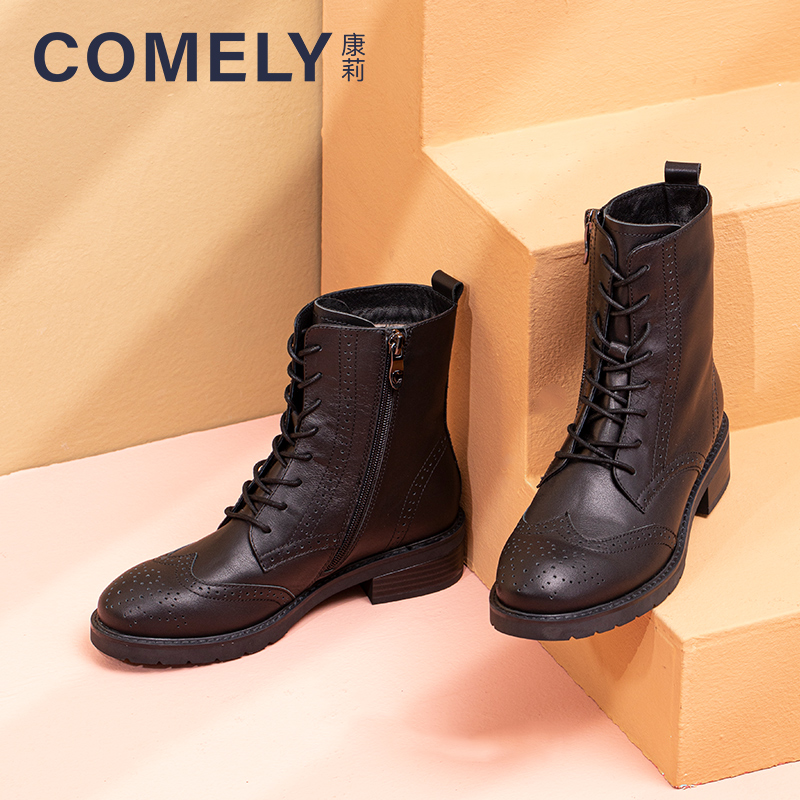 Kanglis genuine 2020 winter leather lace up Brock boots womens Martin boots womens British style single boots