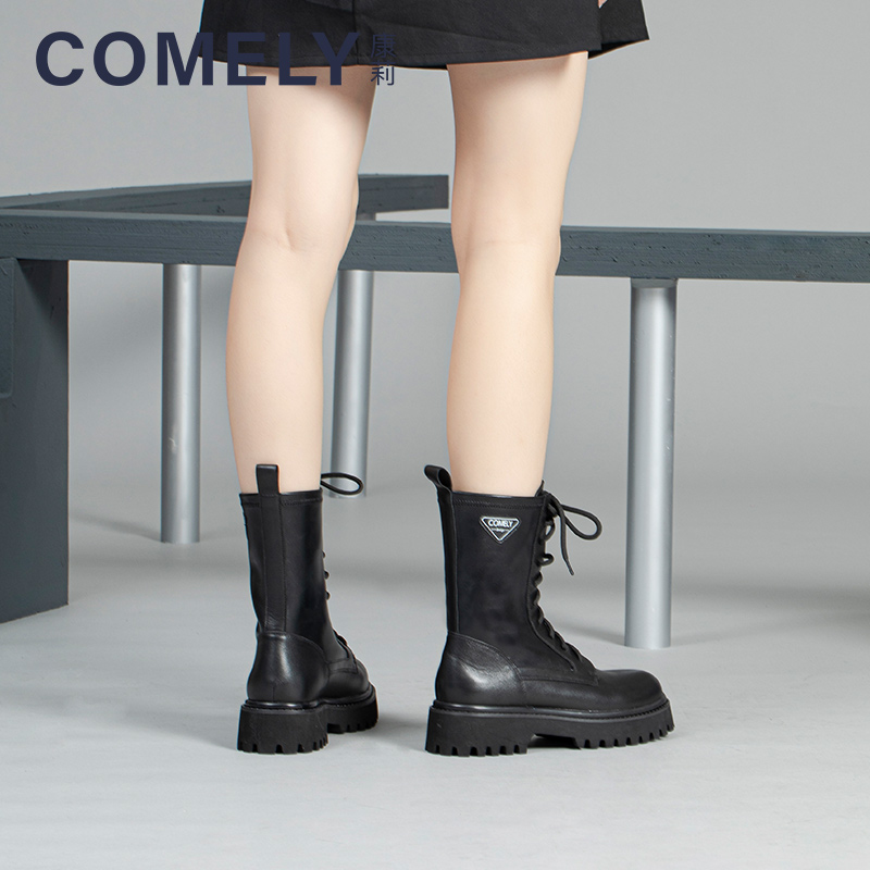 Kangli 2020 winter new counter genuine Martin boots womens fashion British lace up thick soled leather boots